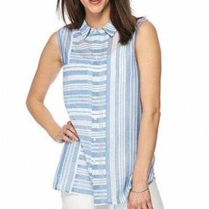 Two by Vince Camuto Mix Stripe Button Front Top